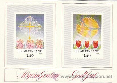 FINLANDIA, POSTAL QUE REPRODUCE LOS SELLOS DE NAVIDAD 1985 (Sellos - Extranjero - Tarjetas)