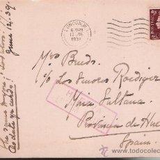 Sellos: TAEJETA POSTAL DE LONDRES A MINA LA SULTANA (HUELVA).DE 12 JUN.1939.FRANQUEADA CON SELLO 211 Y. Lote 22570620