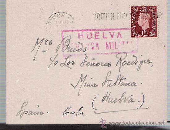 TAEJETA POSTAL DE LONDRES A MINA LA SULTANA (HUELVA).DE 12 FEB.1938.FRANQUEADA CON SELLO 211 (Sellos - Extranjero - Tarjetas)