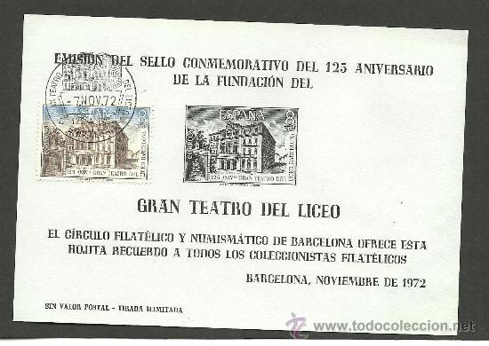 C1-38 EMISION DEL SELLO CONMEMORATIVO DEL 125 ANIVº DE LA FUNDACION DEL GRANN TEATRO DEL LICEO PAPEL (Sellos - España - Tarjetas)