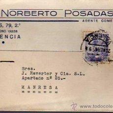 Sellos: TARJETA COMERCIAL DE NORBERTO POSADAS DE VALENCIA 1945. Lote 25117595