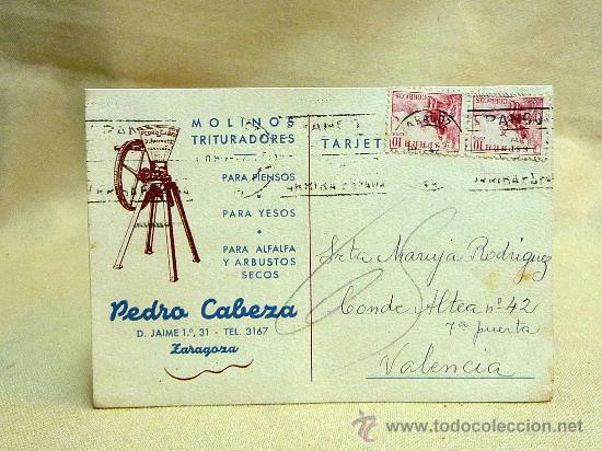 TARJETA POSTAL, PEDRO CABEZA ZARAGOZA, CIRCULADA, VALENCIA, AÑO 1942 (Sellos - España - Tarjetas)