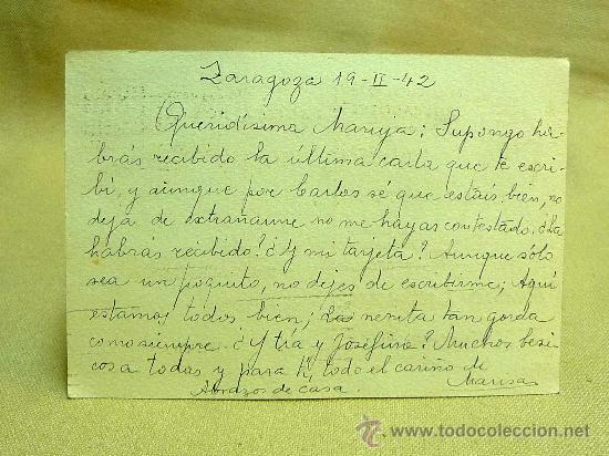 Sellos: TARJETA POSTAL, PEDRO CABEZA ZARAGOZA, CIRCULADA, VALENCIA, AÑO 1942 - Foto 3 - 25735200