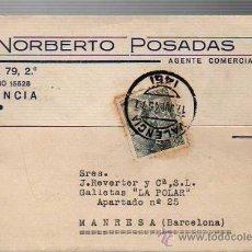 Sellos: TARJETA COMERCIAL DEL AGENTE COMERCIAL NORBERTO POSADAS DE VALENCIA 1945. Lote 26003387