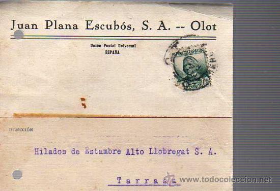 TARJETA COMERCIAL DEJUAN PLANA ESCUBOS SA DE OLOT GIRONA 1935 (Sellos - España - Tarjetas)