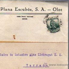 Sellos: TARJETA COMERCIAL DEJUAN PLANA ESCUBOS SA DE OLOT GIRONA 1935. Lote 26003523
