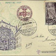Sellos: TARJETA POSTAL - XXV FERIA OFICIAL E INTERNACIONAL DE MUESTRAS - BARCELONA 1957. Lote 27353282