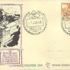 Sellos: TARJETA POSTAL PRIMER DÍA - XXI FERIA OFICIAL E INTERNACIONAL DE MUESTRAS - BARCELONA 1953. Lote 27358170