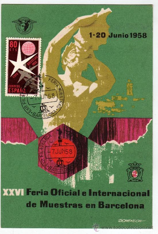 TARGETA POSTAL EXPO FILATELICA BARCELONA 1958 CON SELLO Y MATASELLO (Sellos - Extranjero - Tarjetas)