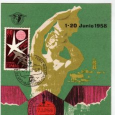 Sellos: TARGETA POSTAL EXPO FILATELICA BARCELONA 1958 CON SELLO Y MATASELLO. Lote 28939592