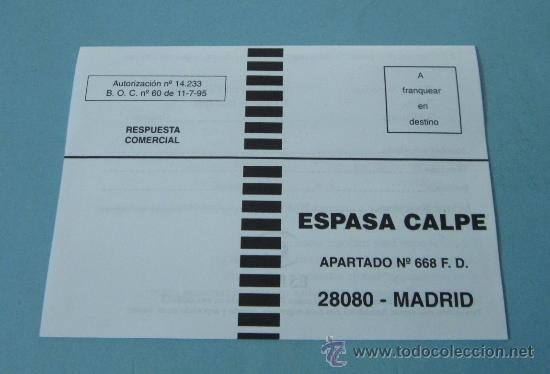 TARJETA RESPUESTA COMERCIAL ESPASA - CALPE (Sellos - España - Tarjetas)