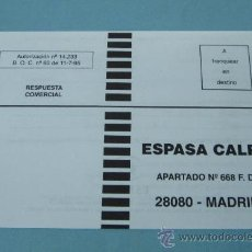 Sellos: TARJETA RESPUESTA COMERCIAL ESPASA - CALPE. Lote 29395776