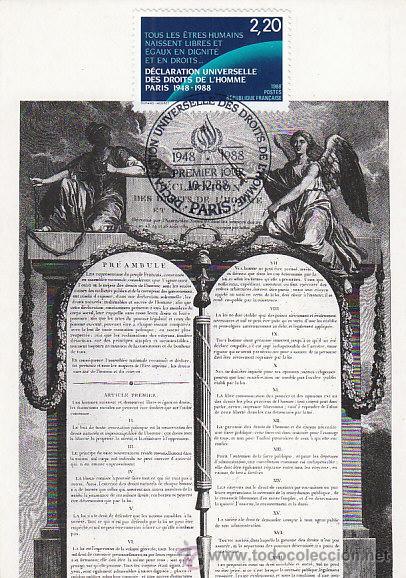 FRANCIA IVERT 2559, DECLARACIÓN DE DERECHOS DEL HOMBRE (40 ANIVERSARIO), TARJETA MÁXIMA 10-12-1988 (Sellos - Extranjero - Tarjetas Máximas)