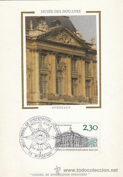 FRANCIA IVERT 2289, MUSEO DE ADUANAS DE BURDEOS (CONSEJO DE COOPERACIÓN ADUANERA) MÁXIMA 22-9-1983 (Sellos - Extranjero - Tarjetas Máximas)
