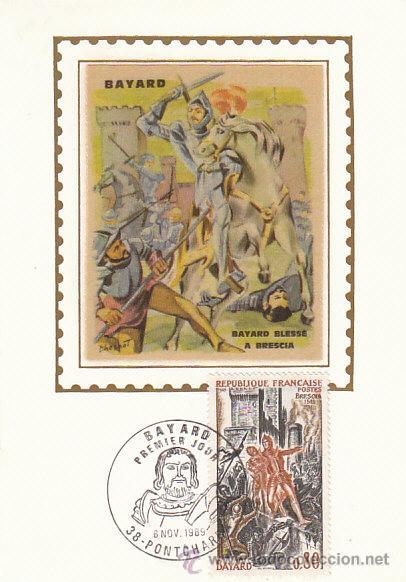 FRANCIA IVERT 1617, BAYARD Y BATALLA DE BRESCIA EN 1512, TARJETA MÁXIMA 8-11-1969 (Sellos - Extranjero - Tarjetas Máximas)