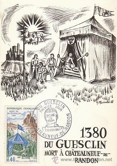 FRANCIA IVERT 1578, BERTRAND DU GUESCLIN, SU MUERTE EN 1380, TARJETA MÁXIMA DE 16-11-1968 (Sellos - Extranjero - Tarjetas Máximas)