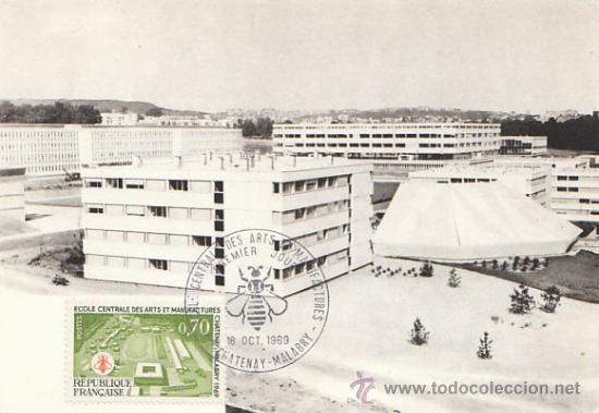 FRANCIA IVERT 1614, ESCUELA CENTRAL DE ARTES Y MANUFACTURAS DE CHATENAY, TARJETA MÁXIMA 18-10-1969 (Sellos - Extranjero - Tarjetas Máximas)