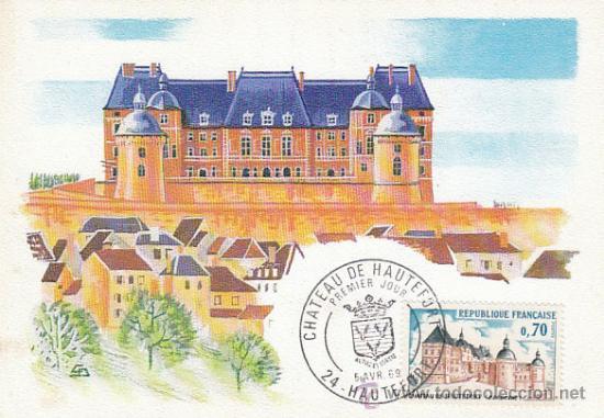 FRANCIA IVERT 1596, CASTILLO DE HAUTEFORT EN LA DORDOGNE, TARJETA MÁXIMA DE 5-4-1969 (Sellos - Extranjero - Tarjetas Máximas)
