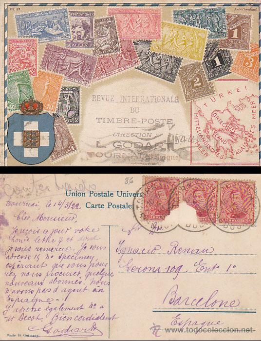 TARJETA POSTAL DE LA REVISTA INTERNACIONAL DE SELLOS DE BELGICA, CIRCULADA EN 1922 (Sellos - España - Tarjetas)