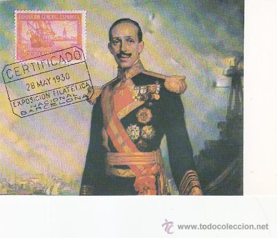 SM REY DON ALFONSO XIII 50 ANIVERSARIO DE LA PRIMERA EXPOSICION FILATELICA NACIONAL RARA TARJETA MPM (Sellos - España - Tarjetas)