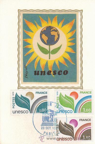 FRANCIA SERVICIO UNESCO IVERT 50/2, TARJETA MÁXIMA DE 23-10-1976 (Sellos - Extranjero - Tarjetas Máximas)