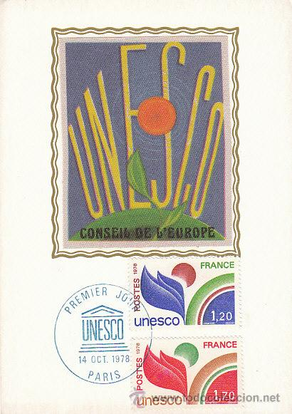 FRANCIA SERVICIO UNESCO IVERT 56/7, TARJETA MÁXIMA DE 14-10-1978 (Sellos - Extranjero - Tarjetas Máximas)
