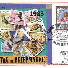 Sellos: AUSTRIA IVERT 1585, FILATELIA JUVENIL (DIA DEL SELLO) TARJETA MÁXIMA DE 21-10-1983. Lote 30986851