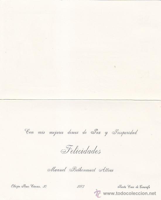 Sellos: MANUEL BETHENCOURT ATTIAS SANTA CRUZ DE TENERIFE CANARIAS BONITA Y RARA TARJETA 1973 LOTERIA PAZ MPM - Foto 2 - 31286653
