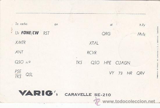 Sellos: AVIACION: AVION: 1959 SAO PAULO BRASIL: INAUGURACION TRANSPORTE AEREO CARAVELLE. RARA TARJETA. MPM. - Foto 2 - 31297990