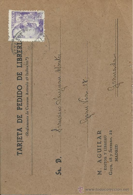 TARJETA DE PEDIDO DE LIBRERÍA - M. AGUILAR EDITOR Y LIBRERO MADRID - MATASELLOS 9-MAR-42 (Sellos - Extranjero - Tarjetas)