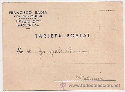 TARJETA POSTAL COMERCIAL. FRANCISCO BADÍA (BARCELONA) (Sellos - España - Tarjetas)