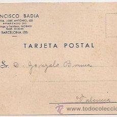 Sellos: TARJETA POSTAL COMERCIAL. FRANCISCO BADÍA (BARCELONA). Lote 31824387