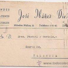 Sellos: TARJETA COMERCIAL DE MUEBLES. ZARAGOZA. Lote 31824395