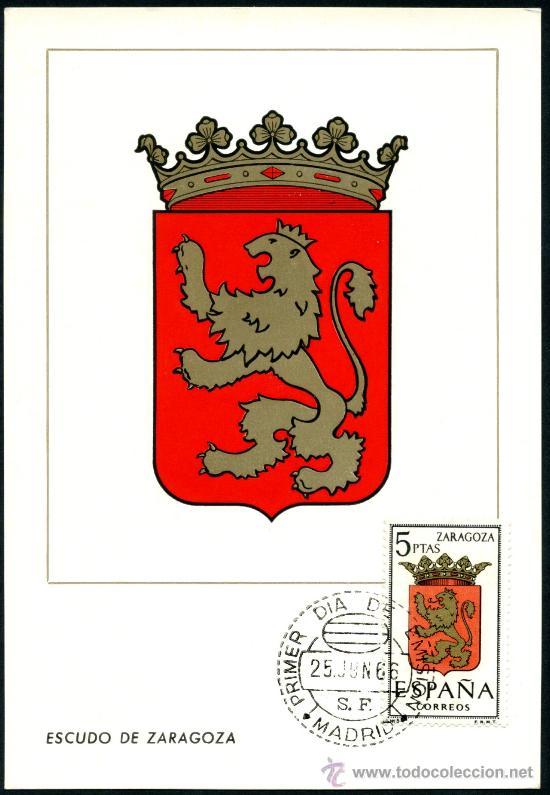 POSTAL – ESCUDO DE ZARAGOZA 1966 (Sellos - España - Tarjetas)