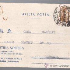 Sellos: TARJETA COMERCIAL DE INDUSTRIA SOFEICA -COLL-BLANCH BARCELONA - TARJETA DE LUTO 1955. Lote 32670762