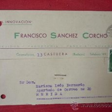 Sellos: TARJETA COMERCIAL--FRANCISCO SANCHEZ CORCHO--CASTUERA--1960. Lote 33092621