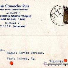 Sellos: TARJETA POSTAL JOSE CAMACHO ALMACEN TEJIDOS FERRETERIA YESTE. Lote 33447067