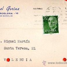 Sellos: TARJETA POSTAL MANUEL GORINA BARCELONA. Lote 33451134