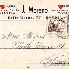 Sellos: TARJETA POSTAL CONFECCIONES CAMISERIA J MORENO GANDIA. Lote 33451276