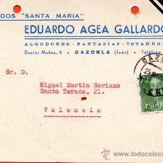 Sellos: TARJETA POSTAL TEJIDOS SANTA MARIA EDUARDO AGEA GALLARDO CAZORLA. Lote 33451532