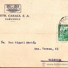 Sellos: TARJETA POSTAL TEXTIL CASALS S.A. SABADELL. Lote 33453240