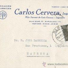 Sellos: TARJETA COMERCIAL FCA BARNICES CARLOS CERVERA DE BARCELONA 1958 . Lote 33561541