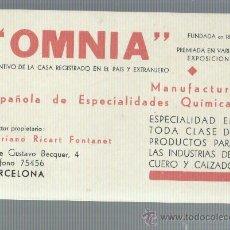 Sellos: TARJETA COMERCIAL OMNIA MANUFACTURAS QUIMICAS BARCELONA. Lote 33561551