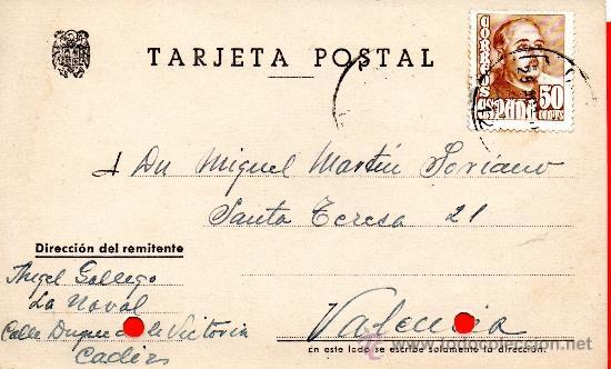 TARJETA POSTAL GALLEGO CADIZ (Sellos - España - Tarjetas)
