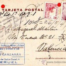 Sellos: TARJETA POSTAL ALMACEN DE SOMBREROS GORRAS Y BOINAS LUIS GARZARAN TERUEL . Lote 33569633