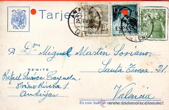 TARJETA POSTAL RAFAEL SUAREZ CAPUELA ANDUJAR (Sellos - España - Tarjetas)