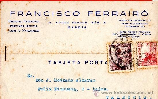 TARJETA POSTAL ESENCIAS EXTRATOS FRANCISCO FERRAIRO GANDIA (Sellos - España - Tarjetas)
