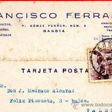 Sellos: TARJETA POSTAL ESENCIAS EXTRATOS FRANCISCO FERRAIRO GANDIA . Lote 33569685