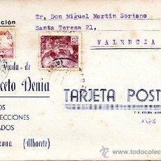 Sellos: TARJETA POSTAL VIUDA DE ANICETO DENIA TEJIDOS Y CONFECCIONES CARAZONA . Lote 33569776