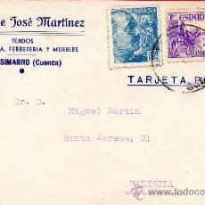 Sellos: TARJETA POSTAL VIUDA DE JOSE MARTINEZ TEJIDOS PAQUETERIA CASASIMARRO. Lote 33569792